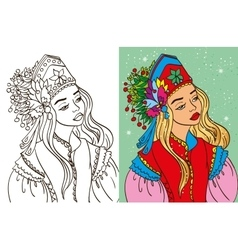 Colouring book of girl in kokoshnik vector