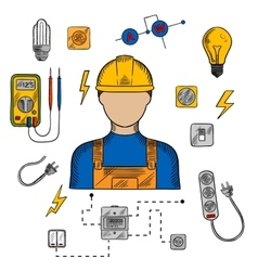 Electrician man tools and equipment vector