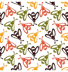 Pattern with cute wasps on the white backdrop vector