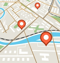 Abstract city map with red pins vector image
