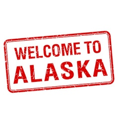 Welcome to alaska red grunge square stamp vector