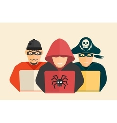 Hacker computer pirate and scammer vector