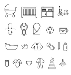 Flat baby icons collection vector