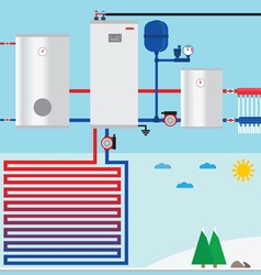 Air source heat pump in the cottage vector image vector image