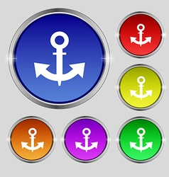 Anchor icon sign round symbol on bright colourful vector