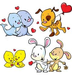 animals celebrate Valentines Day vector image vector image