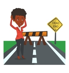 Business woman looking at road sign dead end vector