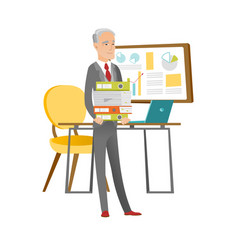 Caucasian businessman holding pile of folders vector