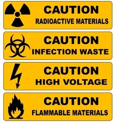 Caution sign banners set radioactive materials vector