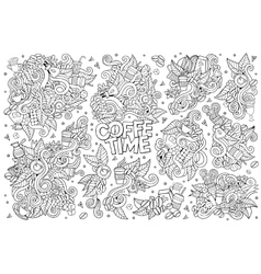 Coffee time doodles hand drawn symbols vector image vector image