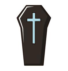 Coffin icon cartoon style vector