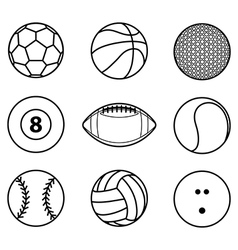 Collection of sport ball icon black outline vector image vector image