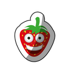 color kawaii fruits strawberry happy icon vector image