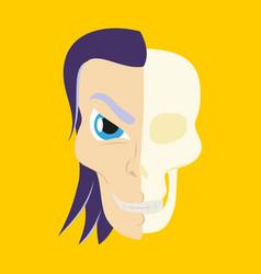 Comic stylized superhero skeleton face print flat vector