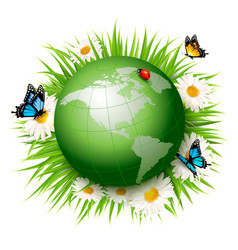 Ecology conceptgreen globe and grass with vector