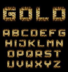 Golden pixel alphabet font letters vector
