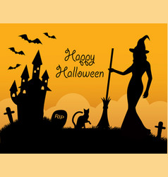 Halloween card with holiday symbols vector