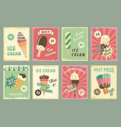 Ice cream price cards for fresh desserts vector