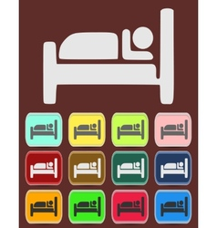 Icon button pictogram with hotel vector