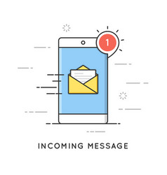 Incoming email notification new message flat vector