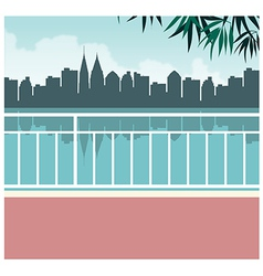 Lakeside cityscape view vector