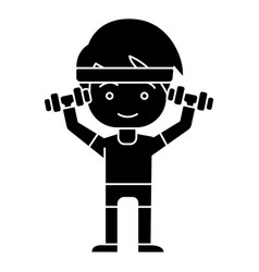 man boy workout with weights hands up icon vector image vector image