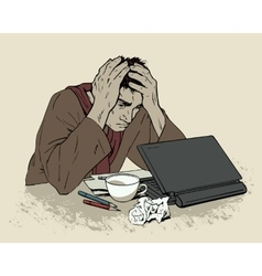 Man in despair sitting at a computer Headache vector image