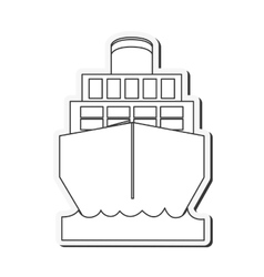 Merchant container ship icon vector