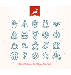 Merry christmas icon set vector