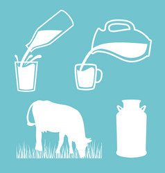 Natural milk symbol or logo cow milk can milk vector
