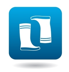 Pair of rubber boots icon in simple style vector