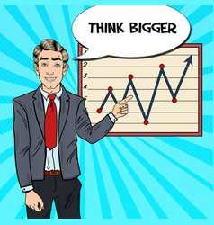 Pop art business man pointing growth graph vector