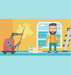 Robot house painter painting the wall vector