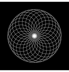 sacred geometry round on black vector image vector image