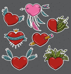 set of different stickers valentines hearts vector image vector image