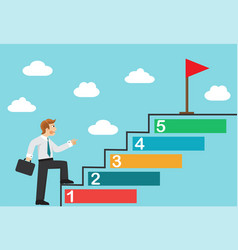 the businessman achieves the goal vector image