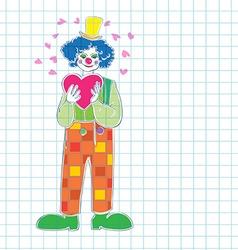 Valentine clown vector image vector image