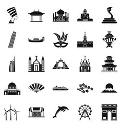 World religion icons set simple style vector