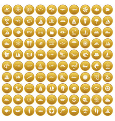 100 sea icons set gold vector