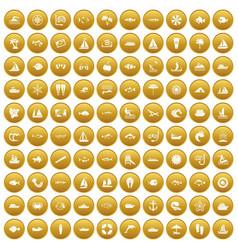 100 sea icons set gold vector