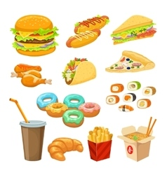 Fast food colorful objects set vector
