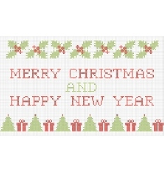 Merry christmas and new year cross-stitch card vector