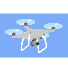 Gray drone quadcopter fly in blue sky quad vector image