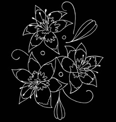 lilies drawing by hand- vector image