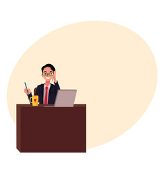 businessman in glasses working at office desk vector image