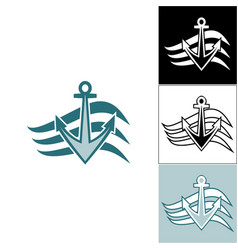 logo anchor on the waves vector image