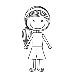 silhouette caricature girl with side hairstyle vector image