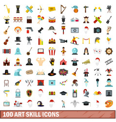 100 art skill icons set flat style vector
