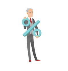 Senior caucasian businessman holding percent sign vector