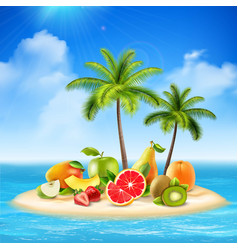 Fruity island background concept vector